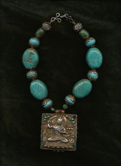 Turquoise Tibetan prayer box