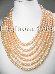 Free-shipping-6-rows-6-7mm-pink-pearl-necklace- customisable