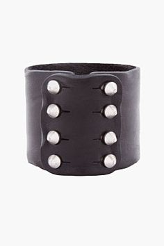DIESEL Black Leather Abark Cuff