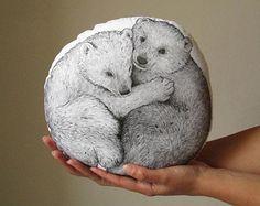 bear pillow bear plush bears cushion handpainted bear cubs playing black bear throw pillow woodland fall autumn trends