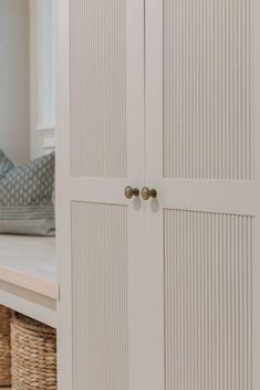 DIY Fluted Doors Gave a Storage Wall a Custom Look - SemiStories Ikea Sektion Cabinets, Diy Cabinets, Diy Cabinet Doors, Tall Cabinet Storage, Cabinet Door Styles, Cupboard Doors, Wardrobe Doors, Built In Wardrobe, Shaker Doors