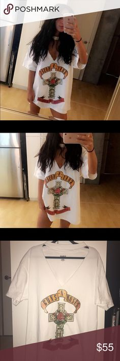 Cut Out Guns N' Roses Tee White guns N' roses tshirt. Triangle cutout in the front. Works as shirt or T shirt dress. Size XL for an oversized fit. Tagged brand for style, made by me LF Tops Tees - Short Sleeve