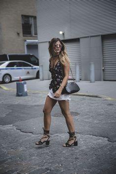 Trendy Taste – Flowered B&W. Black floral top+white denim skirt+black lace up midi heeled sandals+black shoulder bag+pink sunglasses. Summer Outfit 2016 #flatlay #flatlays #flatlayapp   www.flat-lay.com