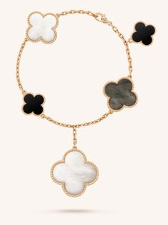 Van Cleef & Arpels Magic Alhambra Bracelet, 5 Motifs - Yellow Gold, Mother-of-Pearl, Onyx (£5,350)