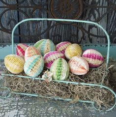6 Vintage Honeycomb Easter Eggs.~~~I Just Bought These on Etsy~~Love Them.