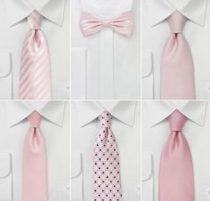 Groom and groomsmen's ties for a pink wedding. All of these are perfect.