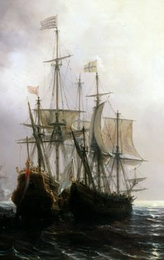 Capture of three Dutch Commercial Vessels by the French Ships byThéodore Gudin, detail.