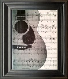 Vintage Guitar Recycled book print ,illustration sheet music instrument