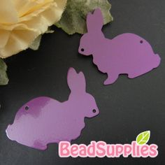 CH-ME-01901- Nickel Free, Rabbit silhouette computer-cut plate, purple, 4 pcs