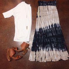 Must-have for Spring... Ivory Carley Crew Tee $32.  Navy Dip Dyed Maxi Skirt $38.  Bar Drop Necklace $54.  Darcy Fringe Heel {Chestnut} $68. (Online) #maxiskirt #dyed #heels #fringe #spring #elysianlove