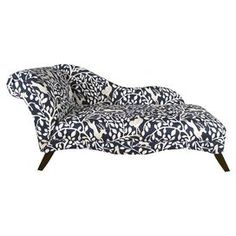 """Bring a pop of style to your den or living room seating group with this eye-catching pine wood chaise, featuring a rolled back and menagerie-inspired motif. Handmade in the USA.  Product: ChaiseConstruction Material: Pine wood, polyurethane and polyester fill foamColor: Pantheon admiralFeatures:  Handmade in the USARolled backMenagerie-inspired motif Dimensions: 30"""" H x 61"""" W x 26"""" DCleaning and Care: Spot clean only"""