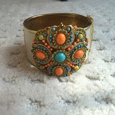 Rare J.Crew Hinge Clamper Bracelet All cabochons in tact and beautiful J. Crew Jewelry Bracelets