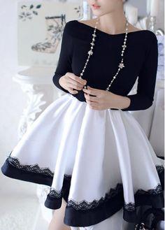 Long Sleeve Patchwork Pattern Ball Gown Dress