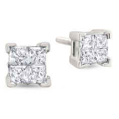 1 CT. T.W. Princess White Diamond 14K Gold Stud Earrings (€1.355) ❤ liked on Polyvore featuring jewelry, earrings, accessories, gioielli, yellow gold earrings, gold earrings, 14k earrings, white gold diamond jewelry and 14k yellow gold earrings