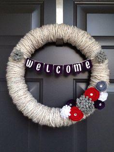 Winter Yarn Wreath by FireflyCountryShop on Etsy