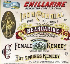 Ad for patent medicines to treat chills, women's problems, and piles. Created/published: ca. 1886.