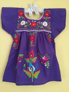 mexican purple tunic embroidered flowers baby girls dress mexican party wedding theme frida kahlo day of the dead cinco de mayo fiesta dress by Miamorcitocorazon on Etsy