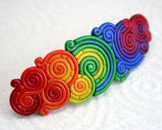 Large Rainbow Barrette in Polymer Clay Filigree via Etsy