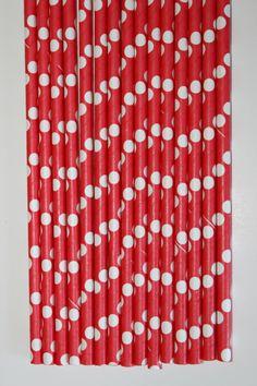 25 Red and White Polka dot  paper straws birthday party event cake pop sticks Bonus diy straw flags. $4.00, via Etsy.