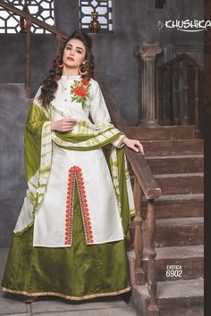 White Designer Indo Western Style Dress With Embroidary Work Exotica Talrejas 6902