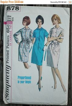 50% Summer Sale Simplicity 5878 1960s 60s Proportioned  Round Collar Shirt Dress Vintage Sewing Pattern Size 12 Bust 32