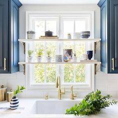 Kitchen Window Shelves, Small Kitchen Storage, Kitchen Blinds Above Sink, Windows In Kitchen, Storage Spaces, Kitchen Decor, Kitchen Design, Kitchen Ideas, Ideas For Small Kitchens