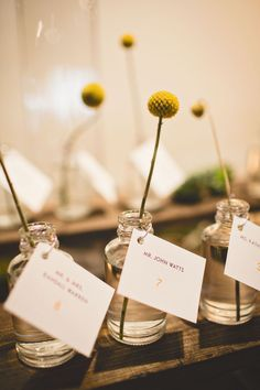 Escort cards attached to vases with a single billy button bud!  Raleigh Wedding from Events by La Fete + Michael Moss Photography