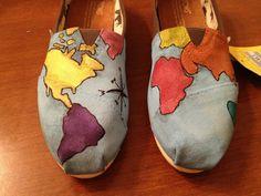 custom globe painted TOMS