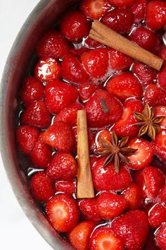 Strawberries in Spiced Red Wine Syrup.yummy topping for pancakes, waffles or ice cream Wine Ice Cream, Just Desserts, Dessert Recipes, Strawberry Delight, Strawberry Sauce, Strawberry Fields, Wine Recipes, Cooking Recipes, Spiced Wine