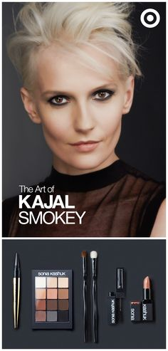 Smokey Eye Look. Fill in the entire lid with the kajal. Use a synthetic brush to blend evenly across the lid. Set the lid with powder, then top it off with a dark eyeshadow. Apply the shadow along bottom lash line and blend.