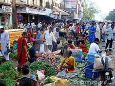 A market in India. Staying healthy in India means a lot of precautions.