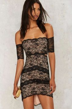 Nika Lace Mini Dress - Going Out | Bodycon | LBD | Off The Shoulder