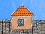 liedje: een huis met een dak en een raam