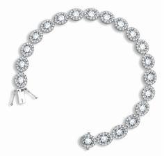 925 Sterling Silver Tennis Bracelet Brilliant Oval Cut White CZ Pave Set with W
