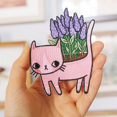 Lavender Kitty Patch by ponyponypeoplepeople on Etsy Cute Patches, Pin And Patches, Iron On Patches, Diy Broderie, Cute Pins, Pin Badges, Crazy Cat Lady, Lavender, Applique