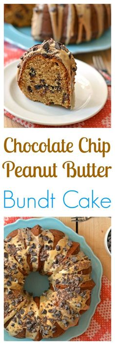 cake loaded with chocolate chips and topped with peanut butter glaze ...