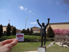 Dan Allis rocks his flair of the Rocky statue in Philadelphia.