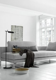 contemporary grey sofa - BODIE and FOU★ Why not to get Scandinavian style to you home? Use fur, light colors, and lots of wood. See more Scandinavian Home Design Ideas at www.homedesignideas.eu