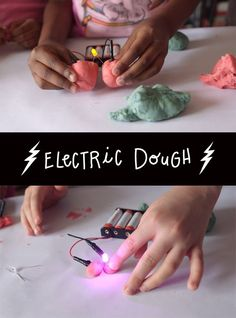 Amp up the fun and have the kids learn about electricity with this experiment! Use homemade electric play dough - conductive and insulating - to create circuits that light an LED. Love to learn. 4th Grade Science, Preschool Science, Elementary Science, Science Experiments Kids, Science Fair, Science Lessons, Teaching Science, Science For Kids, Science Projects