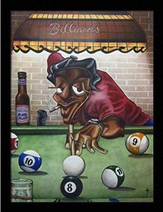 Put Your Money Where Your Mouth Is... ( Billiard ) - Tracy Andrews 18x24 Black Framed - African American Black Art Print Wall Decor Poster #9H22
