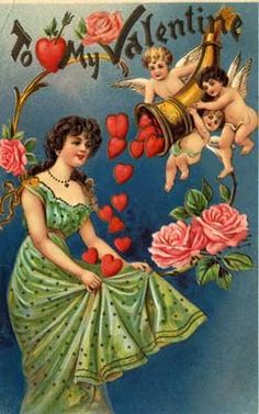 cupids and hearts vintage valentine by honeymoons.about.com