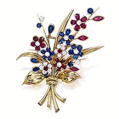 RUBY, SAPPHIRE AND DIAMOND 'BOUQUET HAWAII' BROOCH, VAN CLEEF & ARPELS, CIRCA 1940 Designed as a bouquet decorated with diamond-, ruby- and sapphire-set flowers, to gold leaves and stems, the diamonds together weighing approximately 2.50 carats, the rubies and sapphires together weighing approximately 9.50 carats, mounted in 18 karat yellow gold, signed and numbered 54360.