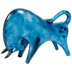 "Guido Gambone/Italian Blue Glazed Pottery ""Bull"" Sculpture circa 1950"
