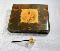 Atq Childs Victorian Angel Child Celluloid Stationery Box Inkwell Glass Dip Pen