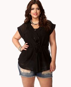 Tie-Front Georgette Top | FOREVER21 PLUS - 2058080054