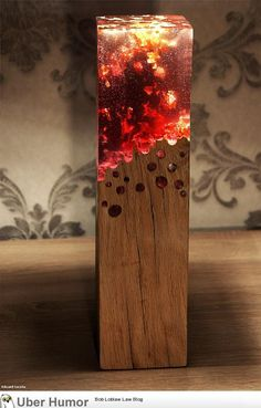 Wood lamp made with acrylic glass looks like its burning
