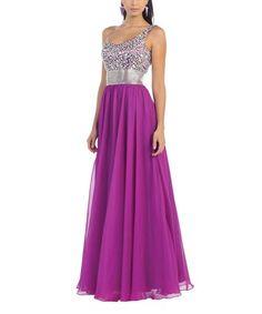 Another great find on #zulily! Magenta Sparkle One-Shoulder Gown #zulilyfinds