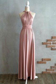 A-line Floor-Length Criss-Cross Straps Blush Satin Bridesmaid Dress BD043.  Vestido ConvertibleSatin Bridesmaid DressesBridesmaid ... edd4131c2dd5