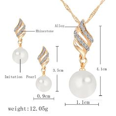 Pearl Jewelry Silver Gold Plated Crystal Necklace Earrings Elegant Wedding Jewelry Set for Women