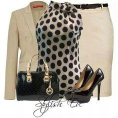 Polka Dots, Pencil Skirt, Black MK